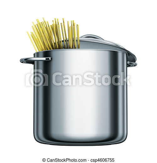 cooking steel pot with spaghetti - csp4606755