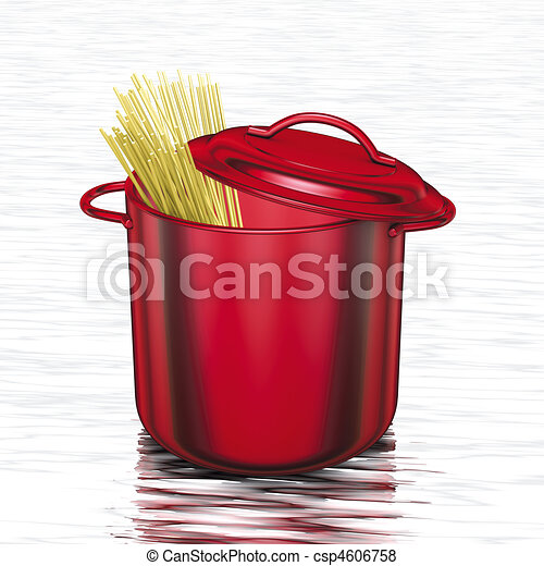 cooking red pot with spaghetti - csp4606758