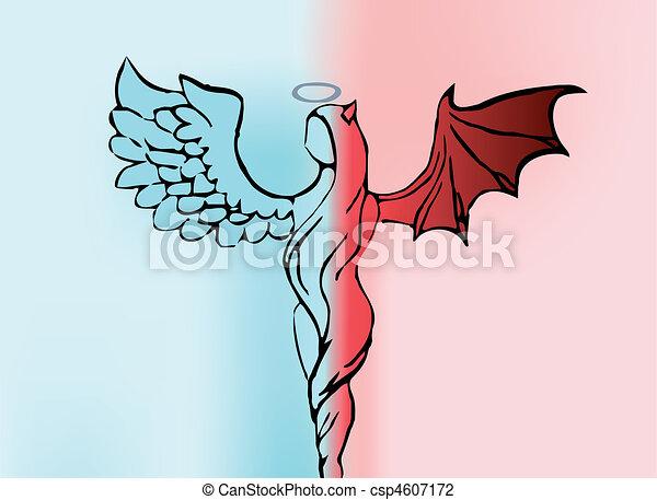 Illustration vecteur de fond femmes ange d mon vecteur - Dessin ange demon ...