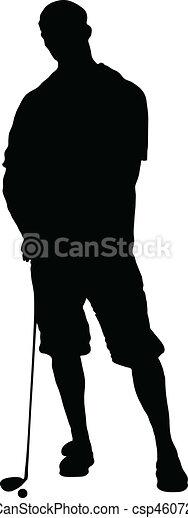 man golfer vector silhouettes - csp4607251