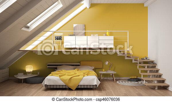 Dessins de minimaliste, grenier, coloré, classique, mezzanine ...