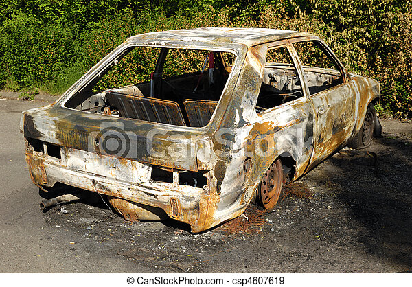 Burnt car wreck - csp4607619