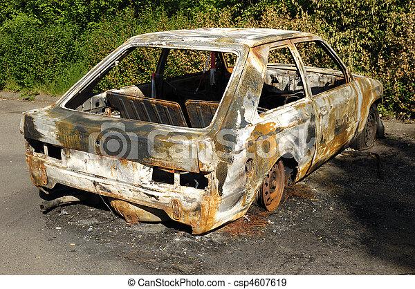 Burnt car wreck - csp4607619