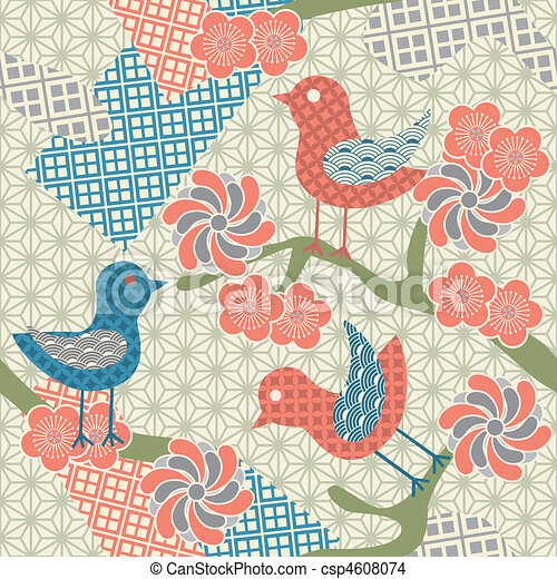 Abstract seamless japanese pattern  - csp4608074