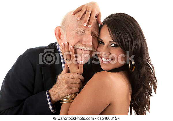 Rich elderly man with gold-digger companion or wife - csp4608157