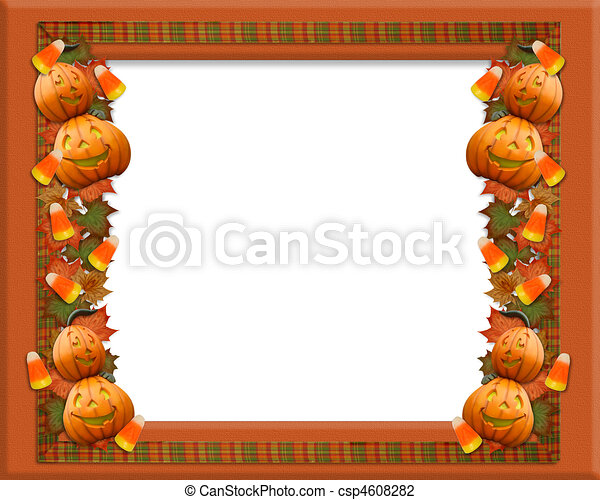 halloween border leaves pumpkins - Halloween Clip Art Border