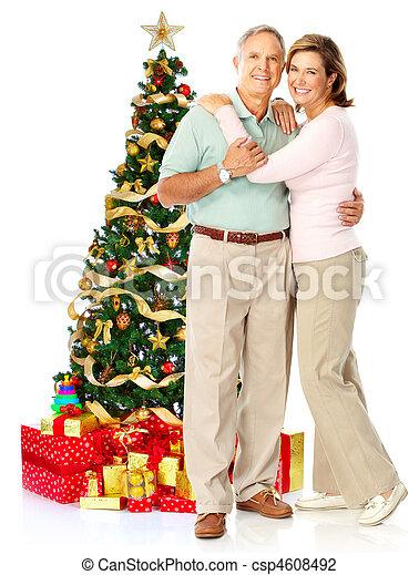Christmas elderly couple - csp4608492