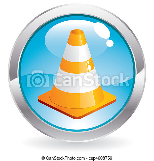 Gloss Button with Traffic Cone - csp4608759