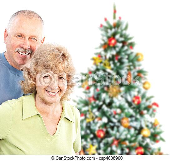 Christmas elderly couple - csp4608960