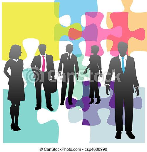 Business people human resources problem solution puzzle - csp4608990