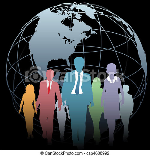 Global Business People Earth Globe on Black - csp4608992