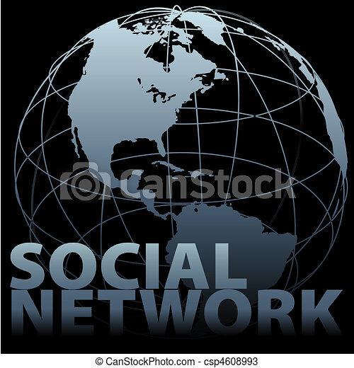 Global media SOCIAL NETWORK Earth Globe - csp4608993