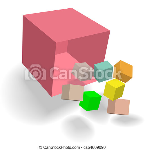 Cubic Cornucopia Box blocks cubes fall 3D abstract - csp4609090