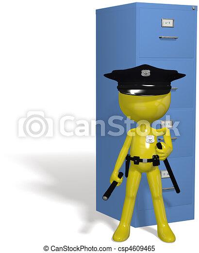Data security cop guards protect safe files - csp4609465