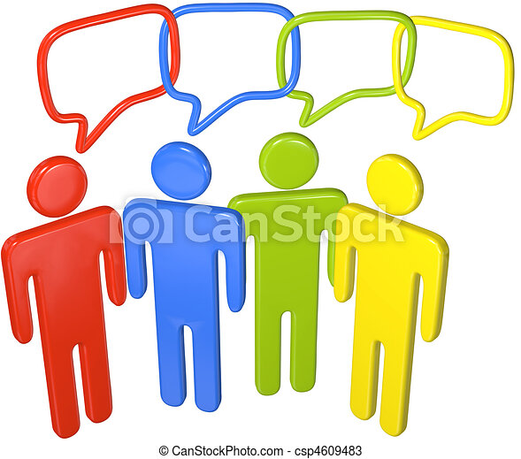 People talk social media in 3D speech link - csp4609483