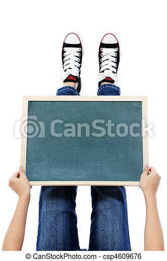 Holding a blackboard over feet - csp4609676