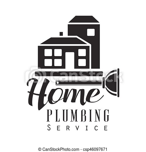 home plumbing repair and renovation service black and white sign design template with text and