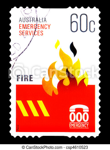 AUSTRALIA - CIRCA 2010 : canceled Australian postage stamp  depicting emergency sevices FIRE, circa 2010 - csp4610523