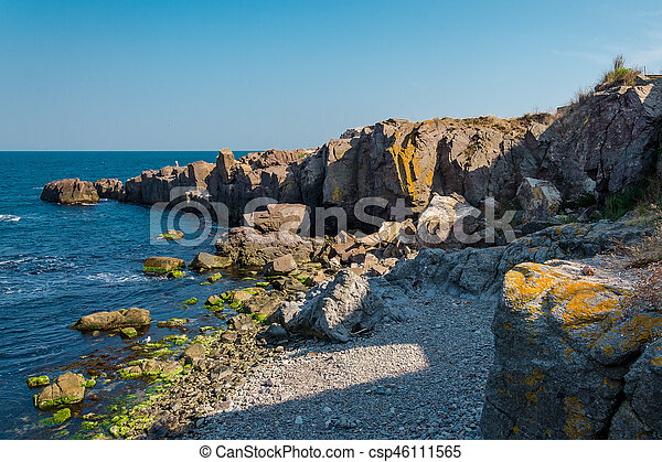 sea view with rock cliff - csp46111565
