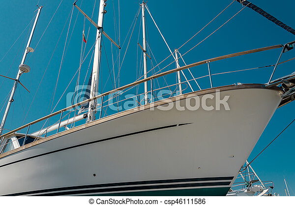 White sailboat in the port - csp46111586