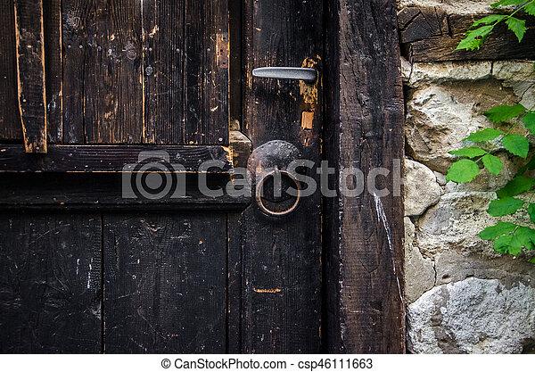 part of old brown wooden door - csp46111663