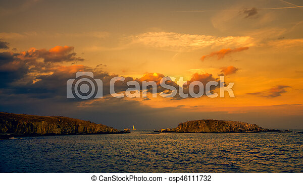 panoramic evening view of two islands at sunset - csp46111732