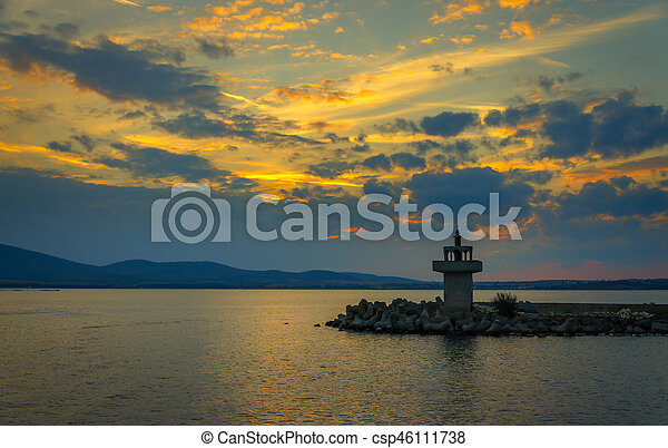 evening view of lighthouse at sunset - csp46111738