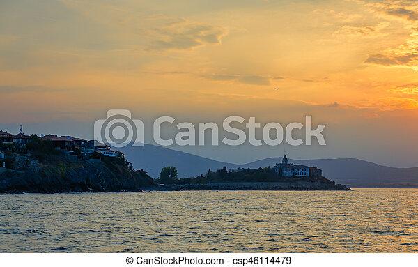 panoramic seaview at sunset - csp46114479