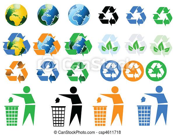 environmental recycling icons  - csp4611718