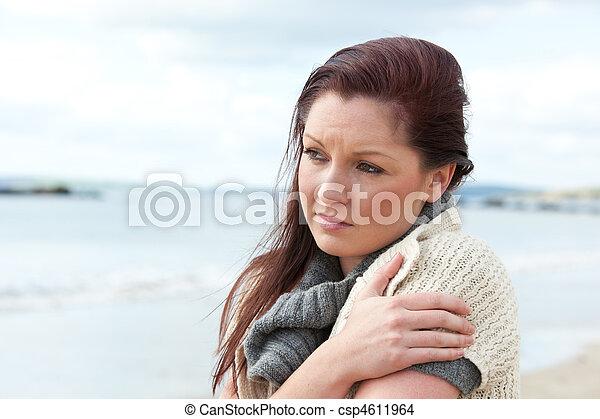 Sad woman warming herself - csp4611964
