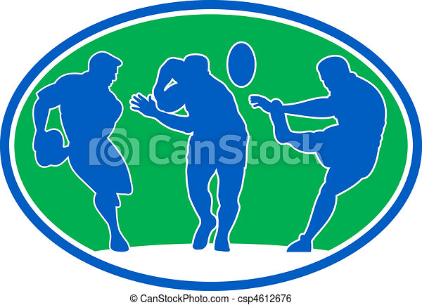 rugby player running passing fending  - csp4612676