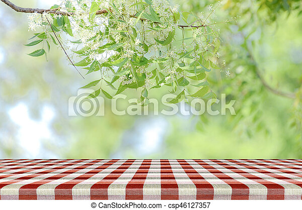 Picnic Table Background stock images of red picnic table and nature background. - red