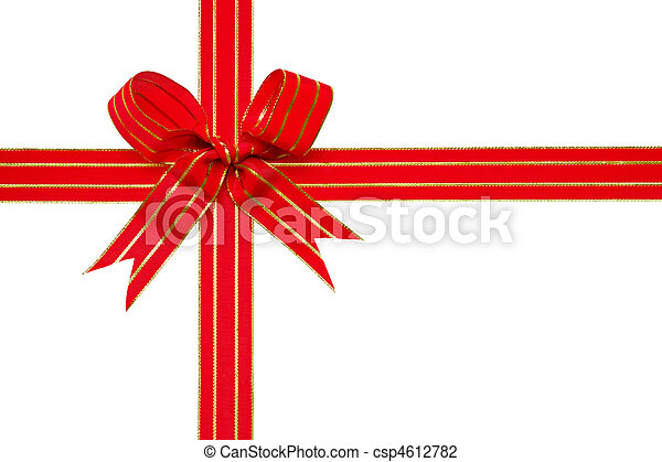 Red gold gift ribbon and bow Clipping path - csp4612782