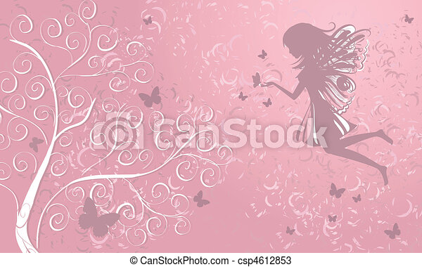 Fairy with butterflies near a tree - csp4612853