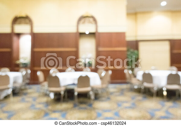 Abstract blur wedding hall in hotel interior for background