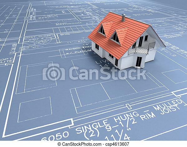 arkitektur,  plan - csp4613607