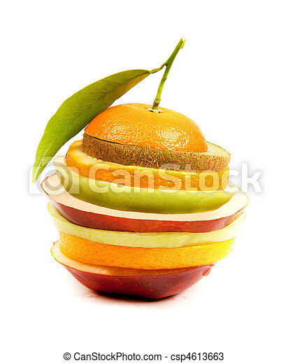 slice of red and green apples and orange - csp4613663