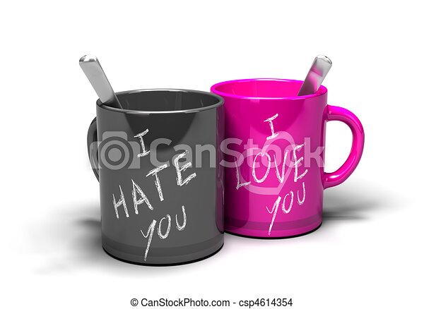 of love hate relationship - two mugs where it 's written i love ...