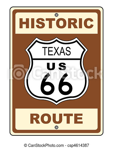 Texas Historic Route US 66 Sign - csp4614387