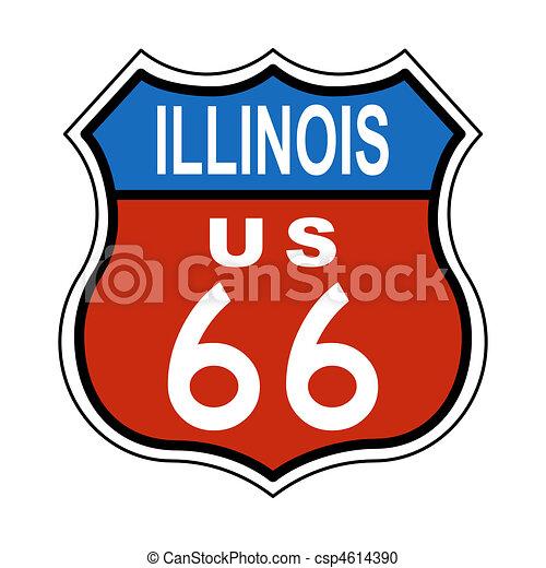 Illinois Route US 66 Sign - csp4614390