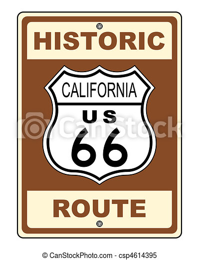 California Historic Route US 66 Sign Illustration - csp4614395