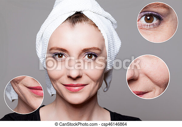 happy woman after beauty treatment - before/after shots - skin care, anti-aging procedures, rejuvenation, lifting, tightening of facial skin - csp46146864