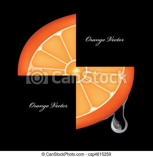 Flowing down drop on an orange segments. Vector - csp4615259