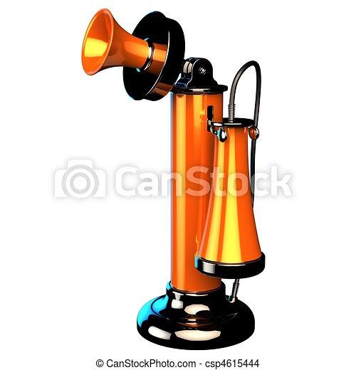 Orange glänzend kerzenleuchter telefon mit schwarz zubehörteil