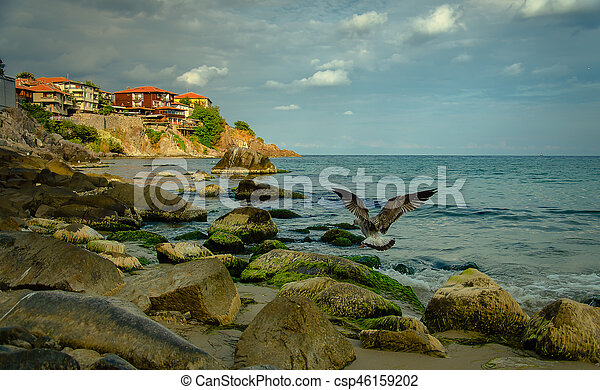 old town on a rock cliff - csp46159202