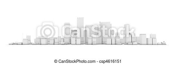 Wide Cityscape Model 3D - White City White Background - csp4616151