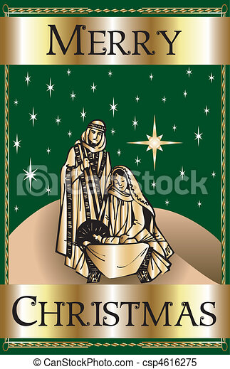 Merry Christmas Green Nativity - csp4616275