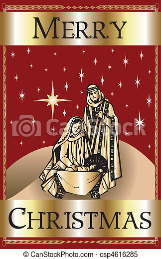 Merry Christmas Red Nativity - csp4616285