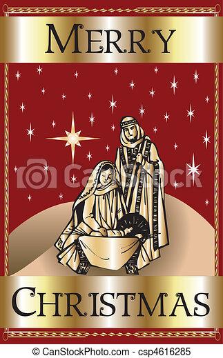Merry Christmas Red Nativity - csp4616285