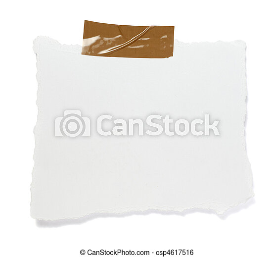ripped white paper note message background - csp4617516